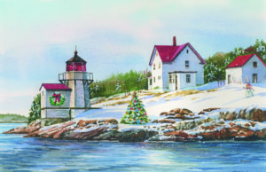 Squirrel Point Lighthouse card by Sandy Crabtree for Pine Tree Society